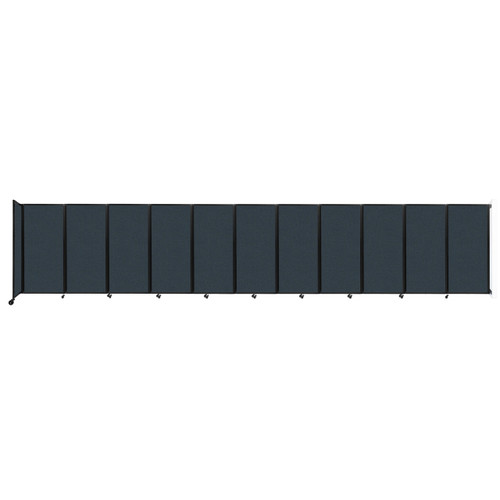 """Wall-Mounted Room Divider 360 Folding Partition 30'6"""" x 6' Blue Spruce Fabric"""