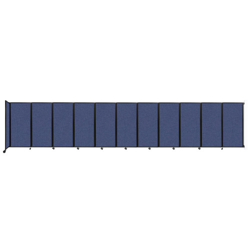 """Wall-Mounted Room Divider 360 Folding Partition 30'6"""" x 6' Cerulean Fabric"""
