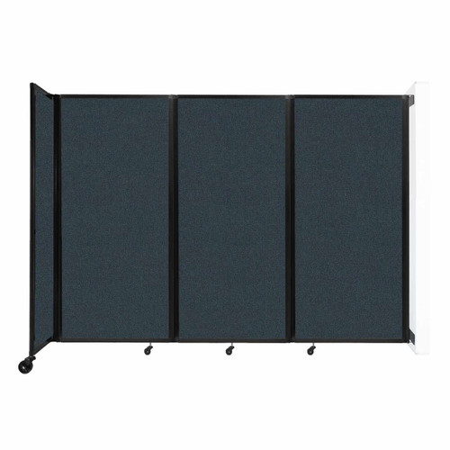 """Wall-Mounted Room Divider 360 Folding Partition 8'6"""" x 6' Blue Spruce Fabric"""
