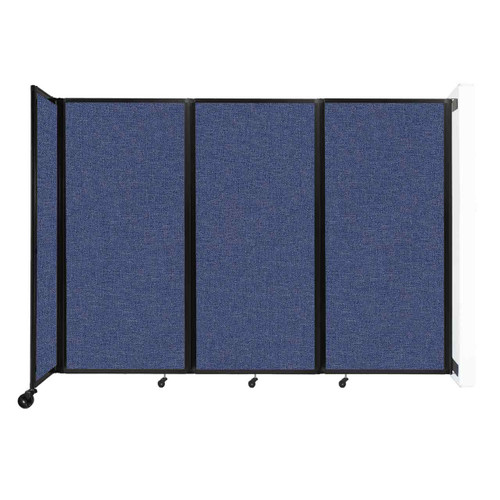 """Wall-Mounted Room Divider 360 Folding Partition 8'6"""" x 6' Cerulean Fabric"""