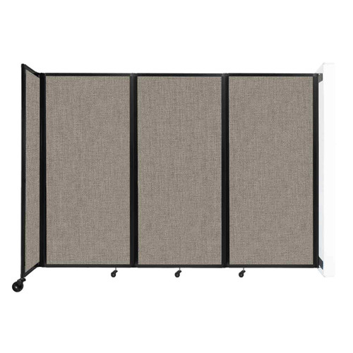 """Wall-Mounted Room Divider 360 Folding Partition 8'6"""" x 6' Warm Pebble Fabric"""