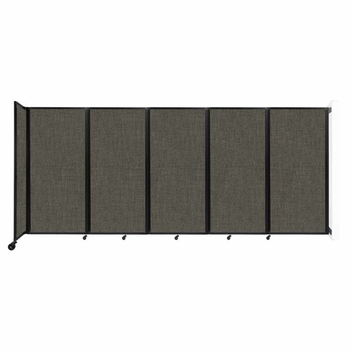 Wall-Mounted Room Divider 360 Folding Partition 14' x 6' Mocha Fabric
