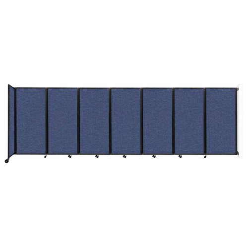 """Wall-Mounted Room Divider 360 Folding Partition 19'6"""" x 6' Cerulean Fabric"""