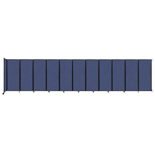 """Wall-Mounted Room Divider 360 Folding Partition 30'6"""" x 6'10"""" Cerulean Fabric"""