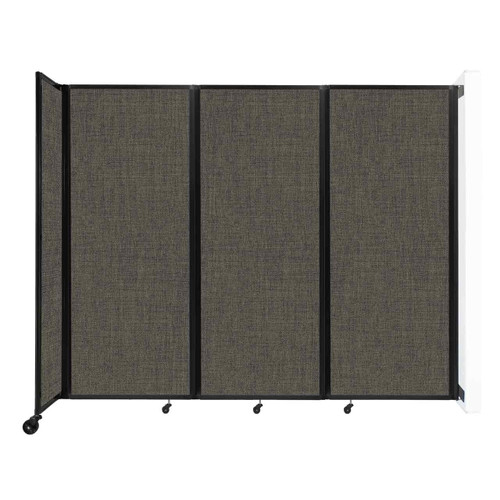 """Wall-Mounted Room Divider 360 Folding Partition 8'6"""" x 6'10"""" Mocha Fabric"""
