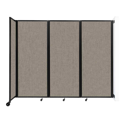 """Wall-Mounted Room Divider 360 Folding Partition 8'6"""" x 6'10"""" Warm Pebble Fabric"""