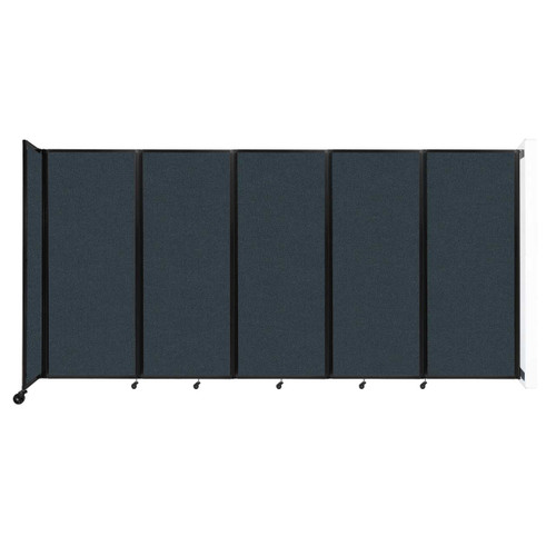 """Wall-Mounted Room Divider 360 Folding Partition 14' x 6'10"""" Blue Spruce Fabric"""