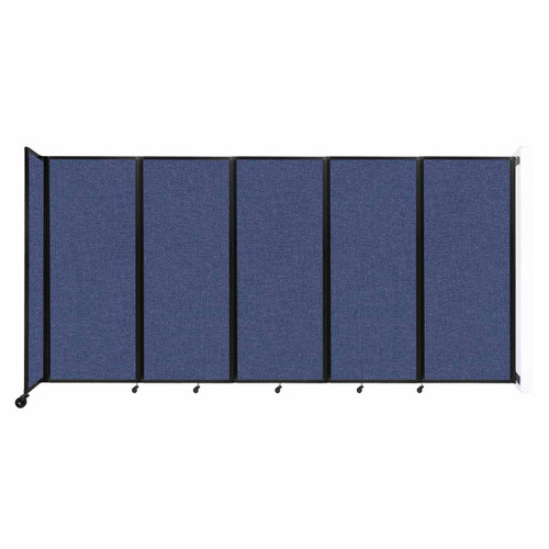 """Wall-Mounted Room Divider 360 Folding Partition 14' x 6'10"""" Cerulean Fabric"""