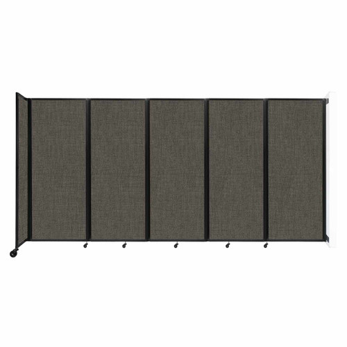 """Wall-Mounted Room Divider 360 Folding Partition 14' x 6'10"""" Mocha Fabric"""