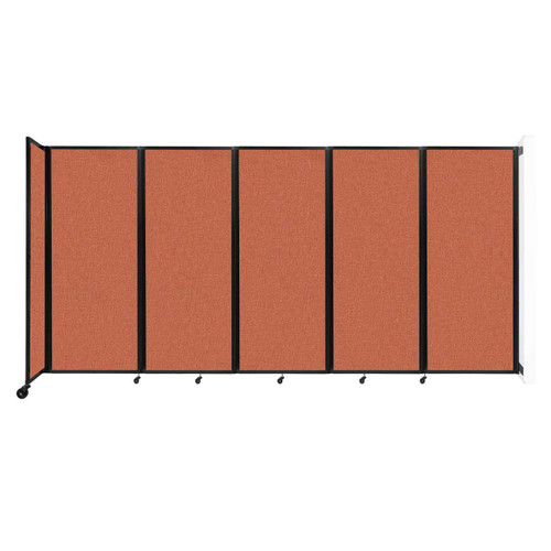 """Wall-Mounted Room Divider 360 Folding Partition 14' x 6'10"""" Papaya Fabric"""