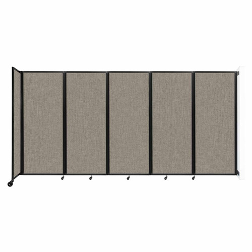 """Wall-Mounted Room Divider 360 Folding Partition 14' x 6'10"""" Warm Pebble Fabric"""