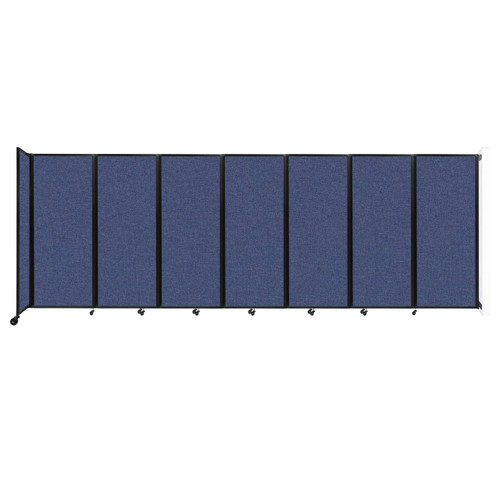 """Wall-Mounted Room Divider 360 Folding Partition 19'6"""" x 6'10"""" Cerulean Fabric"""