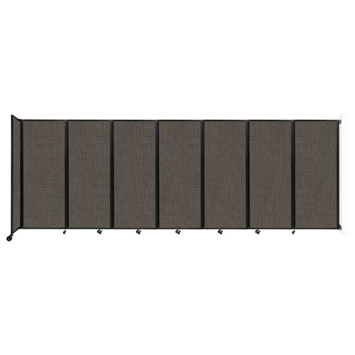 """Wall-Mounted Room Divider 360 Folding Partition 19'6"""" x 6'10"""" Mocha Fabric"""
