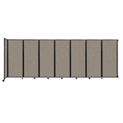 """Wall-Mounted Room Divider 360 Folding Partition 19'6"""" x 6'10"""" Warm Pebble Fabric"""