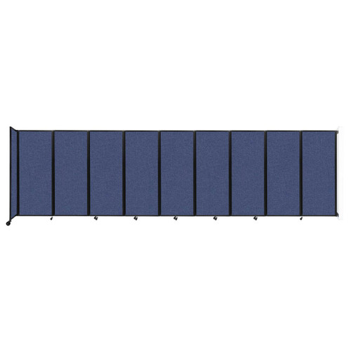 """Wall-Mounted Room Divider 360 Folding Partition 25' x 6'10"""" Cerulean Fabric"""