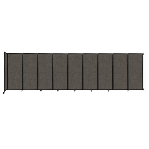 """Wall-Mounted Room Divider 360 Folding Partition 25' x 6'10"""" Mocha Fabric"""