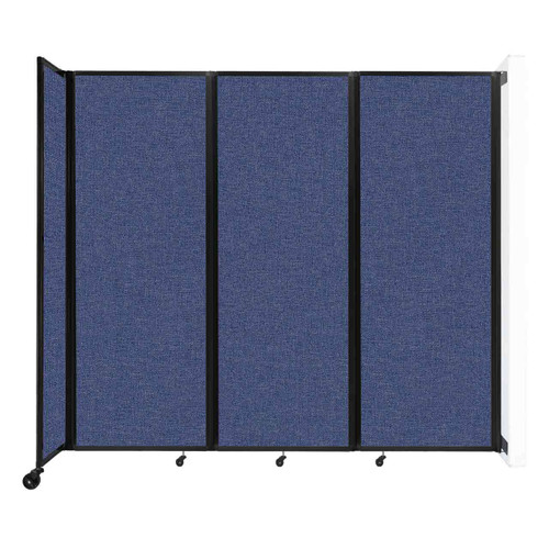 """Wall-Mounted Room Divider 360 Folding Partition 8'6"""" x 7'6"""" Cerulean Fabric"""