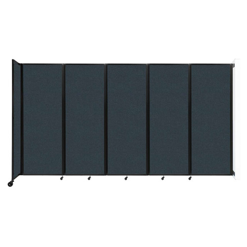 """Wall-Mounted Room Divider 360 Folding Partition 14' x 7'6"""" Blue Spruce Fabric"""