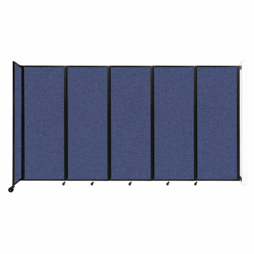 """Wall-Mounted Room Divider 360 Folding Partition 14' x 7'6"""" Cerulean Fabric"""