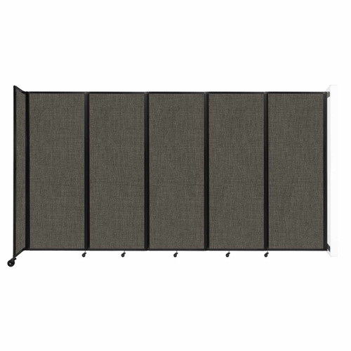 """Wall-Mounted Room Divider 360 Folding Partition 14' x 7'6"""" Mocha Fabric"""
