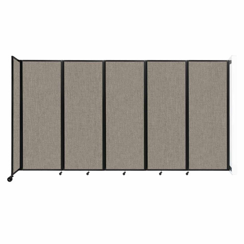 """Wall-Mounted Room Divider 360 Folding Partition 14' x 7'6"""" Warm Pebble Fabric"""