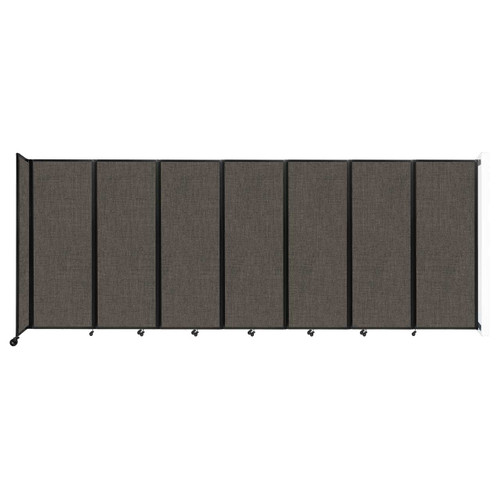 """Wall-Mounted Room Divider 360 Folding Partition 19'6"""" x 7'6"""" Mocha Fabric"""