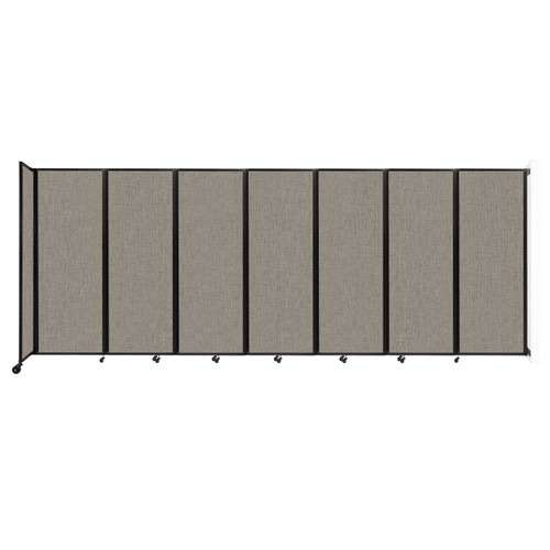 """Wall-Mounted Room Divider 360 Folding Partition 19'6"""" x 7'6"""" Warm Pebble Fabric"""