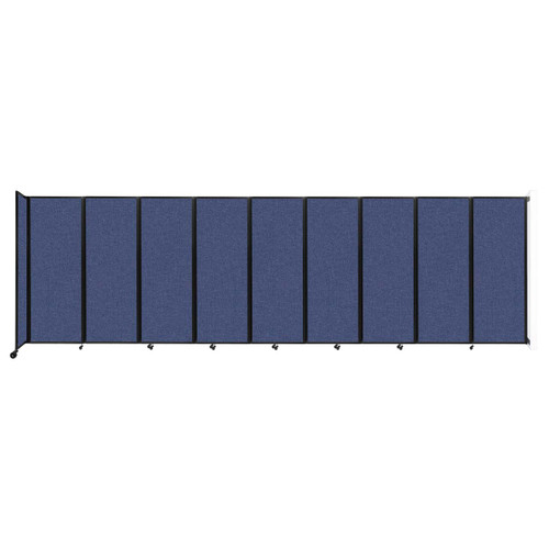 """Wall-Mounted Room Divider 360 Folding Partition 25' x 7'6"""" Cerulean Fabric"""