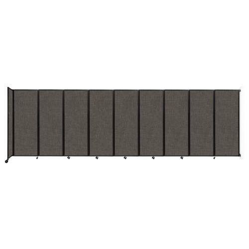 """Wall-Mounted Room Divider 360 Folding Partition 25' x 7'6"""" Mocha Fabric"""