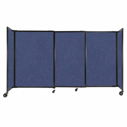 """StraightWall Sliding Portable Partition 7'2"""" x 4' Cerulean Fabric"""
