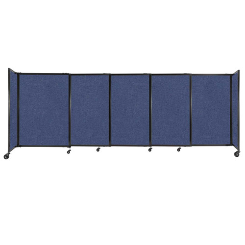 """StraightWall Sliding Portable Partition 11'3"""" x 4' Cerulean Fabric"""