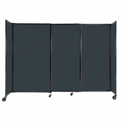 """StraightWall Sliding Portable Partition 7'2"""" x 5' Blue Spruce Fabric"""