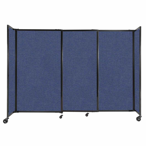 """StraightWall Sliding Portable Partition 7'2"""" x 5' Cerulean Fabric"""