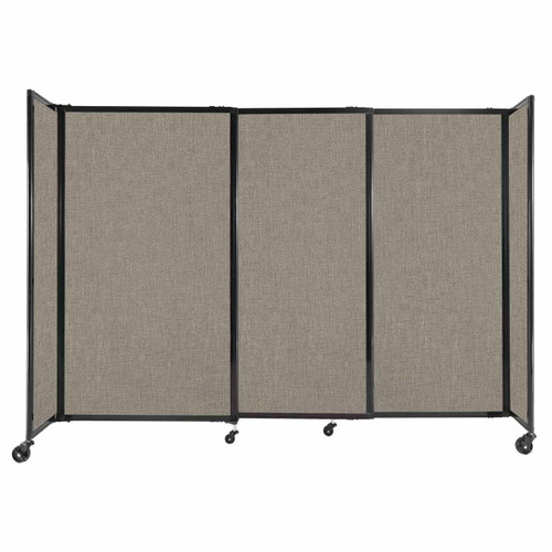 """StraightWall Sliding Portable Partition 7'2"""" x 5' Warm Pebble Fabric"""