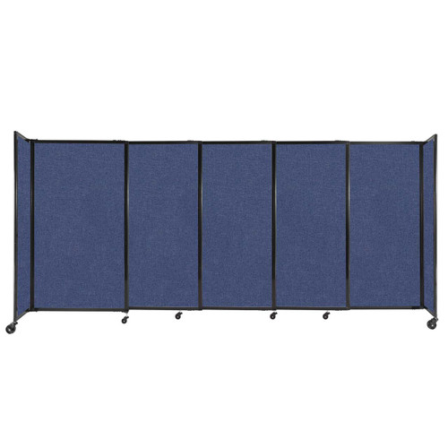 """StraightWall Sliding Portable Partition 11'3"""" x 5' Cerulean Fabric"""