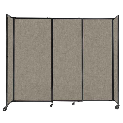 """StraightWall Sliding Portable Partition 7'2"""" x 6' Warm Pebble Fabric"""