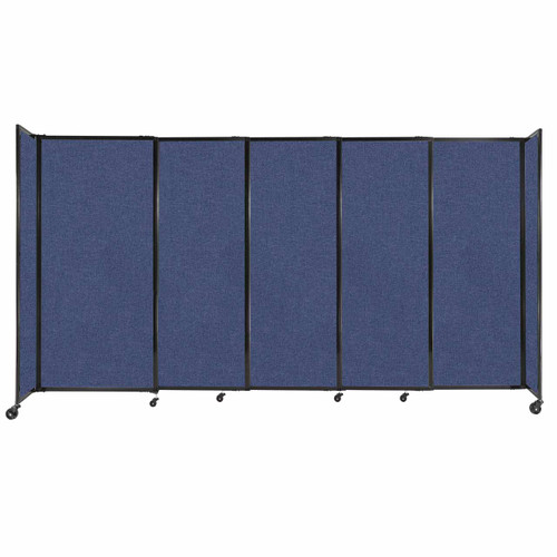 """StraightWall Sliding Portable Partition 11'3"""" x 6' Cerulean Fabric"""