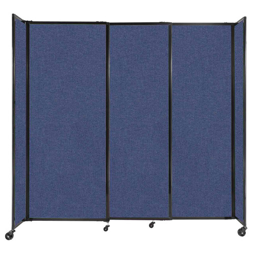 """StraightWall Sliding Portable Partition 7'2"""" x 6'10"""" Cerulean Fabric"""