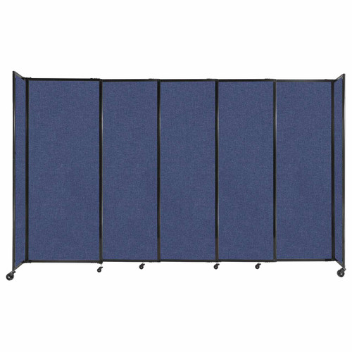 """StraightWall Sliding Portable Partition 11'3"""" x 6'10"""" Cerulean Fabric"""