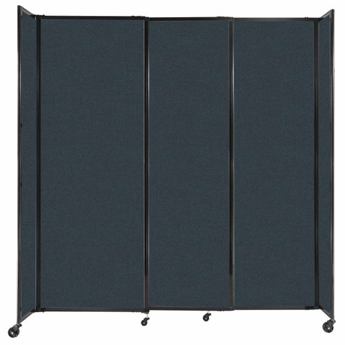 """StraightWall Sliding Portable Partition 7'2"""" x 7'6"""" Blue Spruce Fabric"""