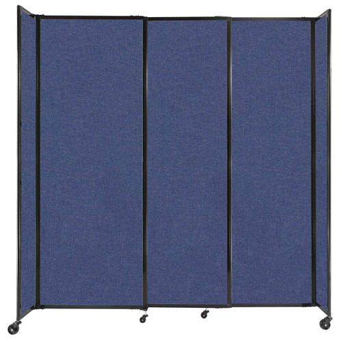 """StraightWall Sliding Portable Partition 7'2"""" x 7'6"""" Cerulean Fabric"""