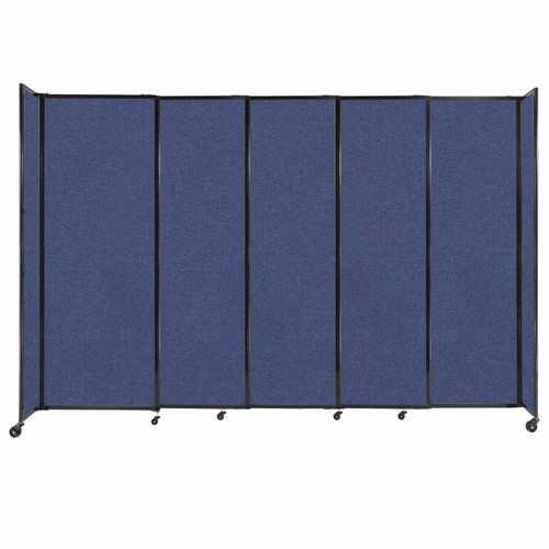 """StraightWall Sliding Portable Partition 11'3"""" x 7'6"""" Cerulean Fabric"""
