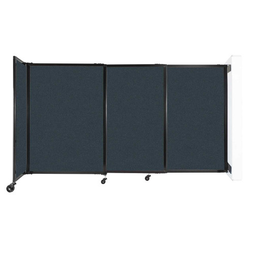"""Wall-Mounted StraightWall Sliding Partition 7'2"""" x 4' Blue Spruce Fabric"""