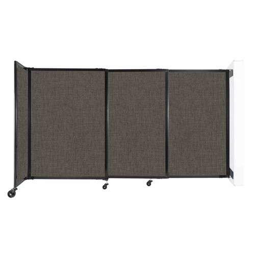 """Wall-Mounted StraightWall Sliding Partition 7'2"""" x 4' Mocha Fabric"""