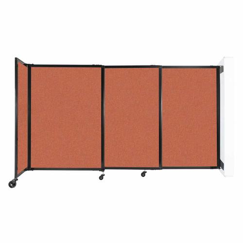 "Wall-Mounted StraightWall Sliding Partition 7'2"" x 4' Papaya Fabric"
