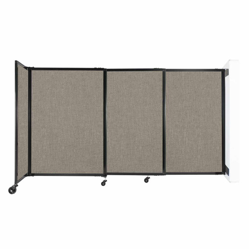"""Wall-Mounted StraightWall Sliding Partition 7'2"""" x 4' Warm Pebble Fabric"""