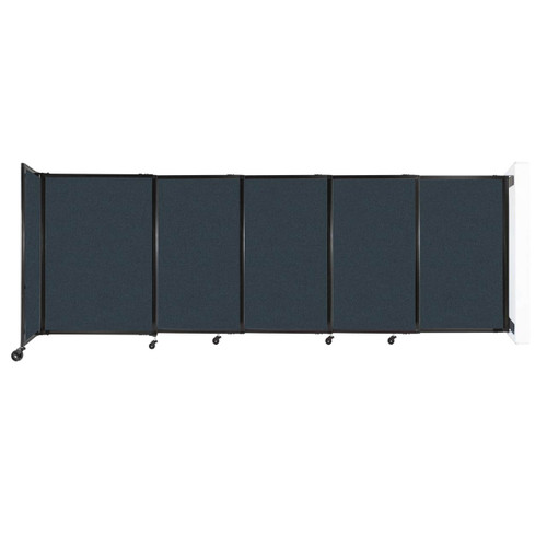 """Wall-Mounted StraightWall Sliding Partition 11'3"""" x 4' Blue Spruce Fabric"""