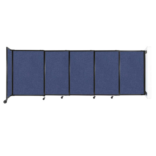"""Wall-Mounted StraightWall Sliding Partition 11'3"""" x 4' Cerulean Fabric"""