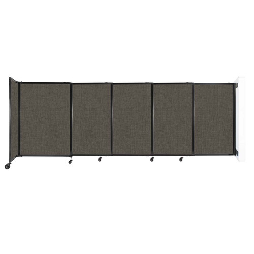 """Wall-Mounted StraightWall Sliding Partition 11'3"""" x 4' Mocha Fabric"""