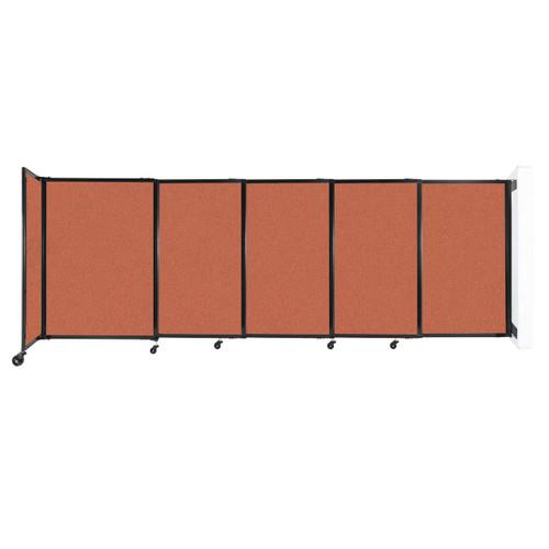 "Wall-Mounted StraightWall Sliding Partition 11'3"" x 4' Papaya Fabric"